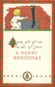 Christmas - Boy Reaches For His Full Stocking Bergman #9006 Postcard
