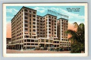 Miami FL, Hotel McAllister Biscayne Bay, Vintage Florida Postcard