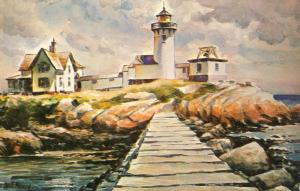 Beautiful Maine/ME Postcard, Watercolor by James Murray, Lighthouse/Light