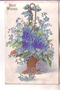 Best Wishes, Felt Applique Blue Flowers Basket, Used 1908 Flag Cancel