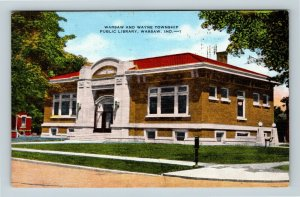 Warsaw IN, Warsaw And Wayne Township Public Library, Linen Indiana Postcard