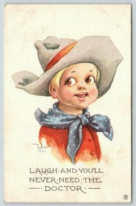 Bernhardt Wall~Cowboy Kid Wisdom: Laugh & You'll Never Need Doctor~c1915 PC
