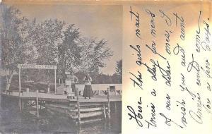 Lakeport NH White Mt Park Boat Landing in 1908 Postcard