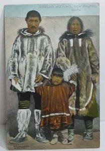 Indigenous Alaskian family A-Pa-Look Cape Douglass Alaska hand colored unposted