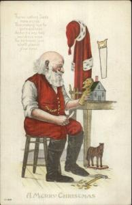 Christmas - Santa Claus Carving Toy w/ Knife C-199 c1910 Postcard
