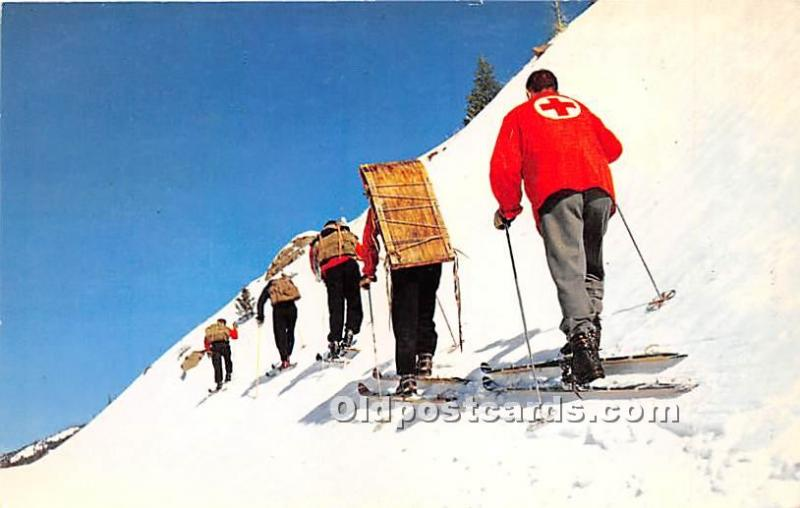 Western Massachusetts, MA, USA Skiing Postcard Ski Patrol hiking up side of ...