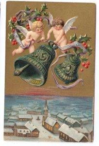 Christmas Eve Cherubs Bells Snowy Town Embossed P Sander Vnrg Gold UND Postcard