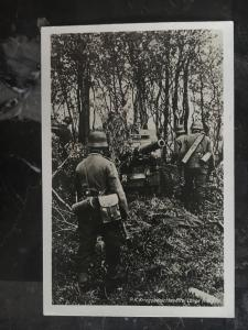 Mint WW2 RPPC Postcard Germany Army Wehrmacht Soldiers Haul Artillery in Forest