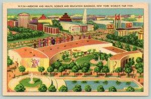 New York City~1939 Worlds Fair~Medicine Health & Science~ART DECO Linen Postcard
