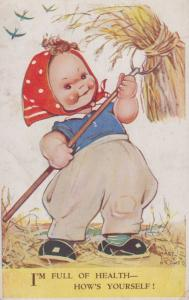Farm Lady Farming Fork Of Healthy Straw Hay Mabel Lucie Attwell Comic Postcard