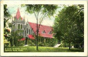 1914 JAMAICA PLAIN, Massachusetts Postcard ST. JOHN'S EPISCOPAL CHURCH w/Cancel