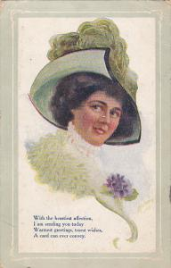 Woman wearing bonnet sending warmest greetings, truest wishes, A card could e...