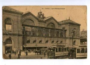 173206 FRANCE PARIS Gare Montparnasse TRAMS Vintage postcard