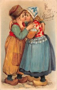 To My Valentine Dutch Children Kissing Couple Romance Antique Postcard K85252