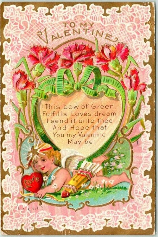 1909 VALENTINE'S DAY Embossed Postcard Cupid / Arrows This Bow of Green…