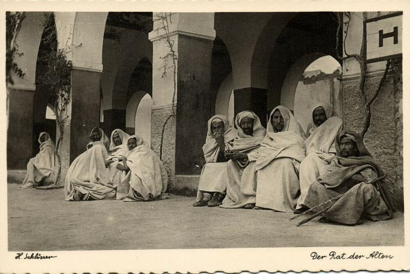 libya, Group of Native Men, Council of Elders (1940s) H. Schlösser Photo