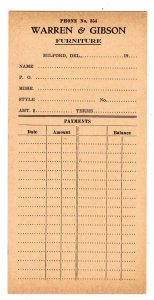 MILFORD DELAWARE DE WARREN & GIBSON FURNITURE EARLY 1900'S PAYMENT CARD