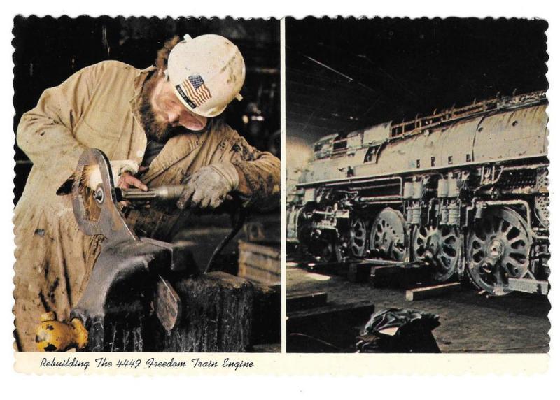 1976 American Freedom Train Rebuilding 4449 Engine Postcard