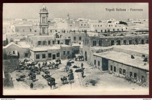 dc1209 - LIBYA Tripoli 1910s Panoramic View. Camels in Town Square