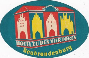 Germany Neubrandenburg Hotel Zu Den Vier Toren Vintage Luggage Label sk3862
