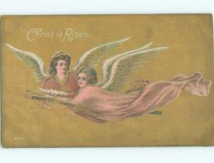 Pre-Linen Easter BEAUTIFUL ANGELS FLYING WITH CROSS AB4057