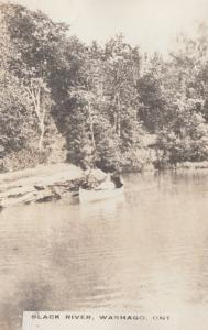 RP: Girl in Canoe on Black River , WASHAGO , Ontario , Canada , 1900-10s