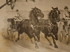 MA-012 Trotting Horses Buggies Race Victorian Era Lithograph 8.5x11-inches