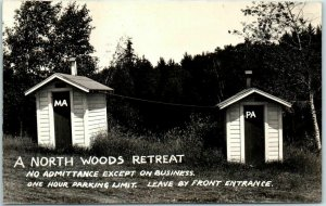 Vintage RPPC Photo Postcard Outhouse Humor Northwoods Retreat 1939 WI Cancel