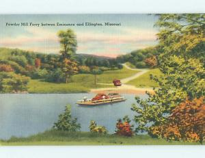 Unused Linen OLD CARS & POWDER MILL AUTO FERRY Eminence - Ellington MO Q9450