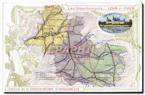 Old Postcard MAPS Chocolaterie d & # 39Aiguebelle Loir et Cher Chateau de Cha...