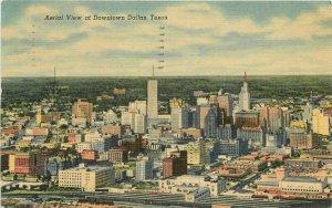 Aerial View Downtown Dallas Texas Martin News Teich linen 1956 Postcard 11395