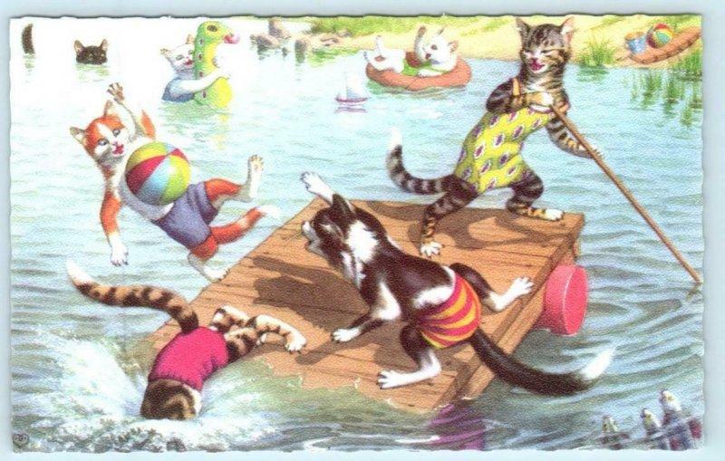 Mainzer Dressed CATS PLAYING SWIMMING Kittens Beach Ball #4870  Postcard
