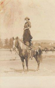 PENDLETON , Oregon, 1900-10s ; Female Rodeo , Tille Baldwin Trick Riding