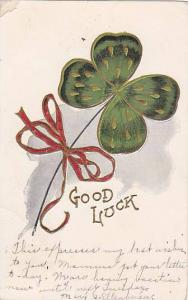 Shamrock tied with red ribbon, Good Luck, PU-1907