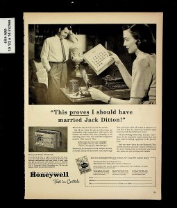 1951 Jack Ditton Marriage Honeywell Clock Thermostat Vintage Print Ad 015705