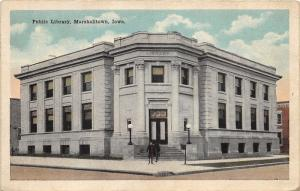 Marshalltown Iowa~Public Carnegie Library~People @ Stairway~1921 Postcard