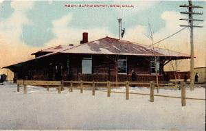 C28/ Enid Oklahoma Ok Postcard c1910 Rock Island Railroad Depot Station