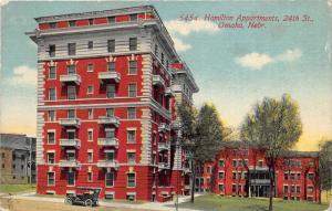 Omaha Nebraska~Hamilton Apartments on 24th Street~Vintage Car in Front~1926 Pc