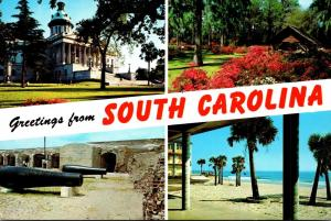 South Carolina Greetings Multi View State Capitol Fort Sumter & More 1990