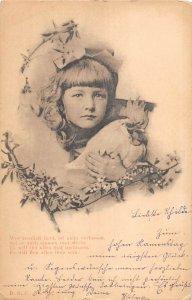 US2936 Girl holding a Bird Portrait Postcard chicken  artist signed