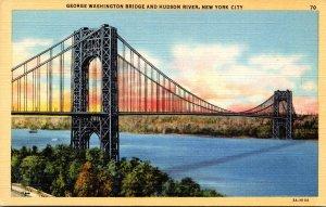New York City George Washington Bridge and Hudson River Curteich
