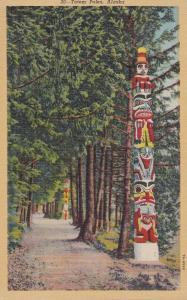 SITKA, Alaska, PU-1946; Totem Poles, tree-lined street