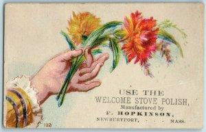 1880's Welcome Stove Polish F. Hopkinson Newburyport, MA Trade Cards P96