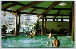 Delavan Wisconsin~Lake Lawn Lodge Motel~Indoor Swimming Pool~1966 Postcard