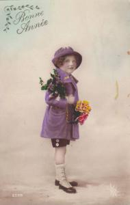 Bonne Annee, New Years Greetings, Girl wearing purple outfit, holding flowers...