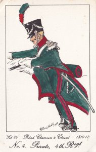 Chasseurs A Cheval Polish Private 4th Regiment Soldier Napoleonic War Postcard