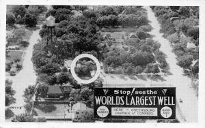 Greensburg Kansas~Aerial World's Largest Well~STOP! No Charge~1950 B&W Roadside