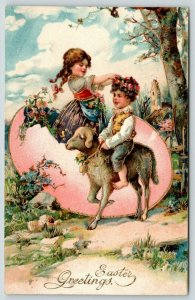 PFB Easter~Country Girl in Exaggerated Pink Egg~Boy Rides Lamb~Gold Leaf #7509