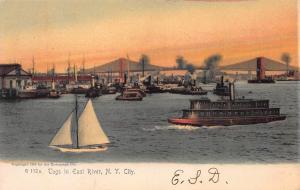 Tugs in East River, New York City, N.Y., Very Early Postcard, Unused