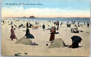 Old Orchard Beach, Maine Postcard On the Sands Bathing Beach Scene 1917 Cancel
